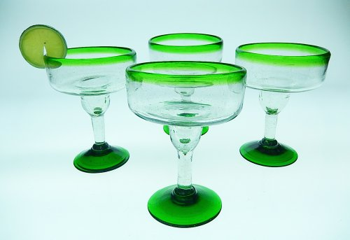 Mexican Glass Margarita 10 Oz. Green Rim & Base (Set of 4) (Green Margarita)