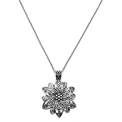 Antique Silver Tone Flowers Pendant Necklace Chain