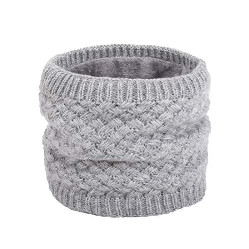 Epeius Kids Girls/Boys Winter Knitted Infinity Scarf Children Warm Soft Polar Fleece Neck Warmer,Grey,One Size