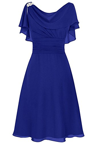 MenaliaDress Women's Chiffon Short Gown Neck Mother Of Bride Dress Prom Gown M086LF Royal Blue (Bride And Gown)
