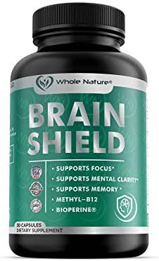 Whole Nature Nootropics Brain Supplement: Brain Shield Nootropic Supplements with Ginkgo Biloba, Alpha GPC and Bacopa Monnieri for Anxiety and Stress Relief - Boost Focus, Energy, Memory - 30 Pills