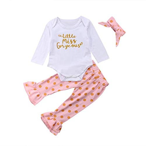 Suma-ma (0M-24M) Newborn Infant Baby Girl Letter Romper Tops+Dot Monogrammed Harem Pants Outfits 3Pcs Set Clothes]()