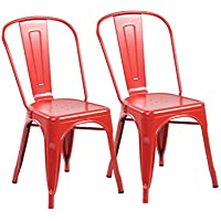 eurosports Tolix Style Chair 3004-MR-2 Metal Kitchen Dining Chairs with Back, Set of 2 Matte Red