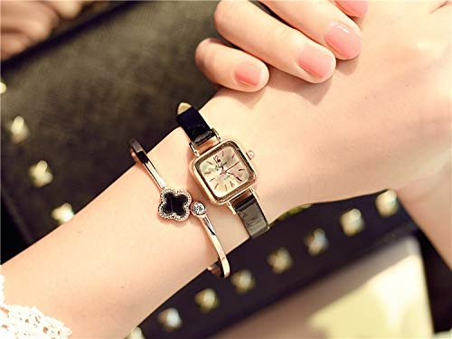 2018 Watch Women Girls Students College Theatrical Unique Retro Square Former Style Table 3 lin jia (Black Belt (Transmission Electron Box +)