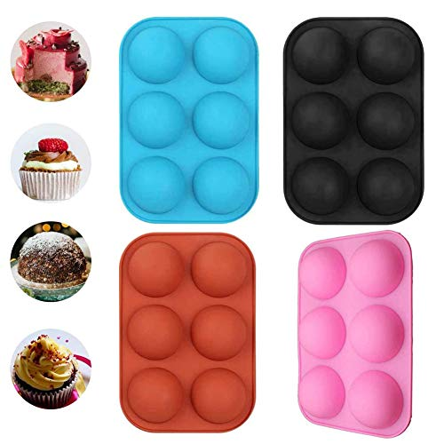4Packs Medium Semi Sphere Silicone Mold, Baking Mold for Hot Chocolate Bomb, Cake, Jelly, Dome Mousse (4PCS, Black,Blue…
