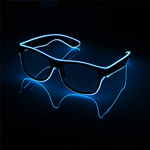 Glow Glasses Light Up El Wire Glowing Dance Party Rave Glow-in-The Dark LED Sunglasses - Glowing Sunglasses