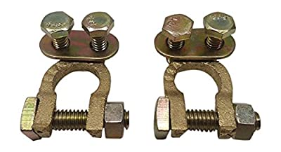 Ter-Mex TM3 - 2X Battery Solid Brass Automotive Cable Ends Terminals Top Post Clamps Connectors (Pack of 2)