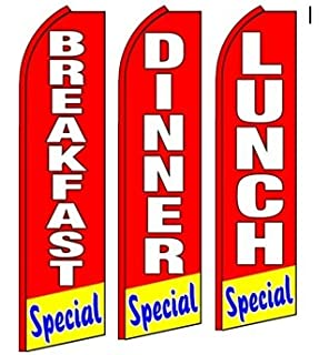 Pack of 3 All You can eat Restaurant Open King Swooper Feather Flag Sign Kit with Pole and Ground Spike