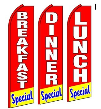Breakfast Lunch and Dinner Special Standard Size Swooper Feather Flag Sign Pk of 3 - Special Breakfast