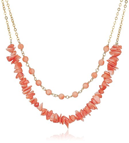 (Gold-Filleded Two Row Natural Pink Coral Round and Pink Coral Chips Chain Necklace, 16