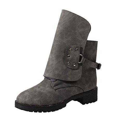 o Botas Agua Zapatos Gris Biker Grande de Invierno Ayuda Botines Talla Mujer Oto de PAOLIAN Dama Fashion Calzado Negras Cuero Terciopelo Moda Alta Chelsea para Botas de Hebilla con IIqRr