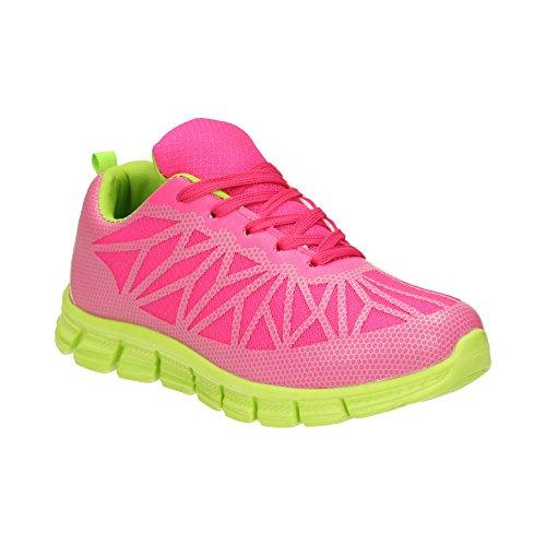 Damen Sneaker Sportschuhe Lauf Freizeit Runners Fitness Low Schuhe Fuchsia/Grün EU 39