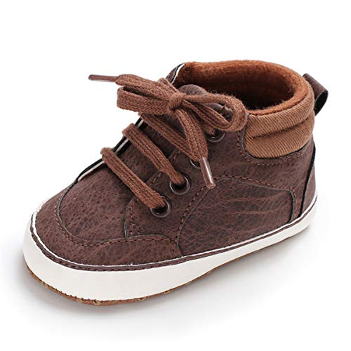 Baby Boys Girls Canvas Shoes Basic Sneakers Lace Up Infant Newborn First Walker Prewalker Shoes(0-18 Months) (0-6 Months M US Infant, H-Brown) (Brown Baby Shoes)