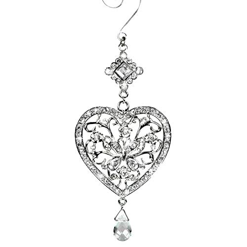 (BANBERRY DESIGNS Heart and Butterfly Hanging Ornament - Clear Crystals and Filigree Ornament - Sparkly Silver Christmas Ornament - Silver Christmas Decorations)