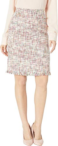 Tahari by ASL Women's Boucle Pencil Skirt with Frayed Trim Cream/Magenta ()