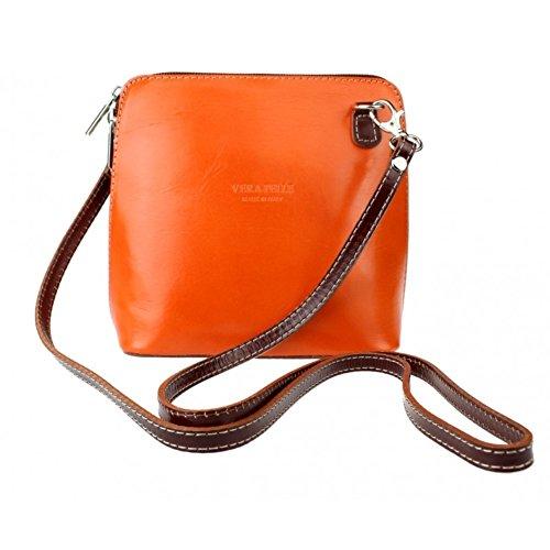 Genuine Italian Leather Vera Pelle Mini Cross Body Bag or Shoulder Bag Orangedtan