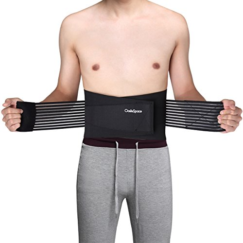 Medical Grade Lumbar Lower Back Brace and Support Belt with 8 Splints Stabilizing Dual Adjustable Straps and Breathable Mesh Panels, Wide Lumbar Support Area by OasisSpace (XL 39-46')