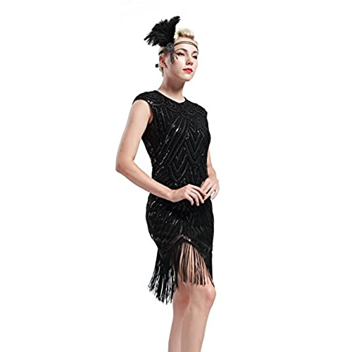 BABEYOND 1920s Flapper Dresses 20s Great Gatsby Dress 1920s Beaded Embellished Fringed Dress, Medium, Black