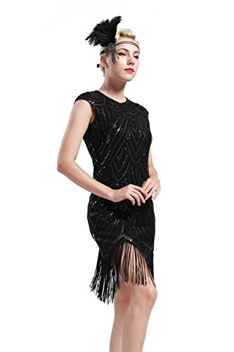 BABEYOND Women's Flapper Dresses 1920s Beaded Fringed Gatsby Dress (Medium, Black)