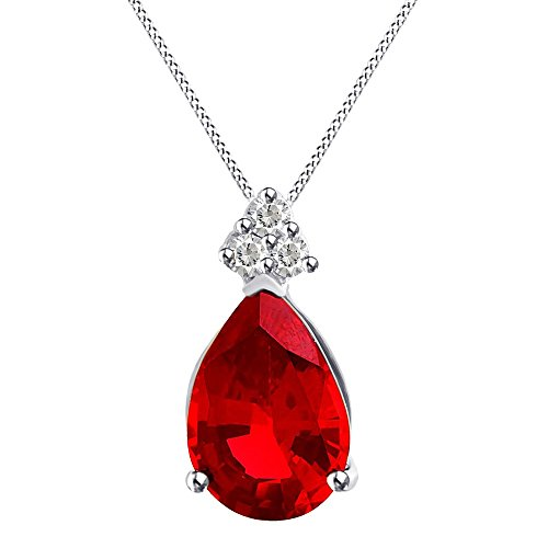(Round Cut Solitaire & Pear Shape Simulated Ruby Pendant Necklace Chain Sterling Silver 14k Gold Over)