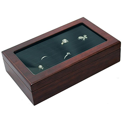 Ikee Design Wooden Ring Inserts Organizer & Jewelry Accessory Display View Top Box by Ikee Design (Image #3)