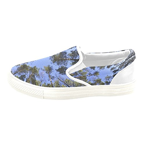 Forest Custom And Sneaker Shoes Blue on D Sky Tree Unusual Slip Story Women Canvas Fpwx5wqIR