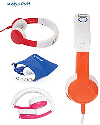 housing adjustable Explore Foldable Model: Foldable Pink for iPad Detachable Cable In Line Mic Kids Headphones by Onanoff built in headphone splitter super durable volume limiting lock 2 Pack Blue comp