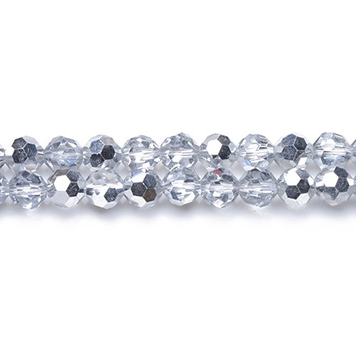 - Strand 70+ Silver/Clear Czech Crystal Glass 8mm Faceted Round Beads GC3547-3 (Charming Beads)
