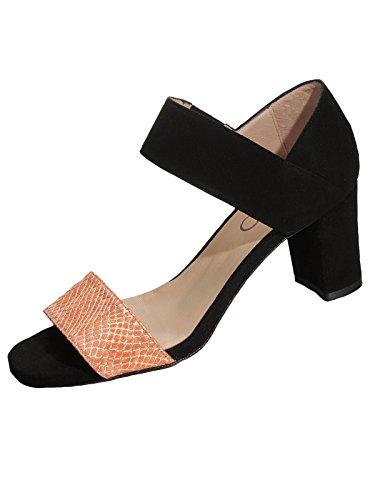 Marion Spath Damen 334-655 Wildleder Designer-Sandalette Schwarz/Orange
