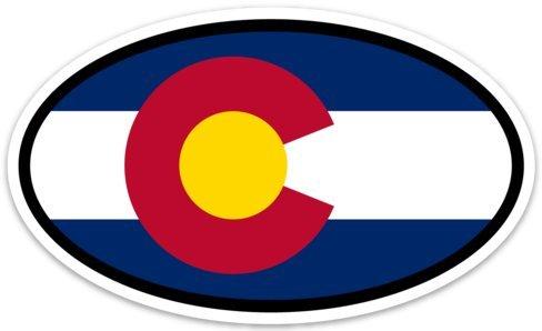 Bandana Skateboard Truck (Colorado State Flag Viny Decal - Euro Oval Car Self Adhesive Bumper Sticker for windows, trucks, cars, and laptops)