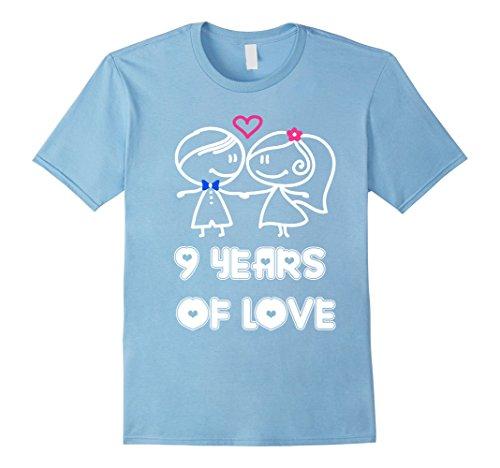 Men's 9 Years Of Love Shirt - 9th Wedding Anniversary Gifts Medium Baby Blue