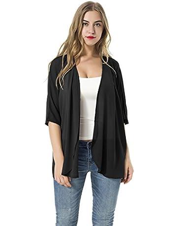 11667758f6 Women's Short Sleeve Beachwear Sheer Chiffon Kimono Cardigan Solid Casual  Capes Beach Cover up Blouse