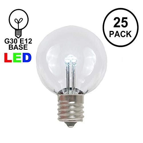 Novelty Lights 25 Pack G30 LED Outdoor Patio Party Christmas Globe Replacement Bulbs, Pure White, 3 LED's Per Bulb, Energy Efficient