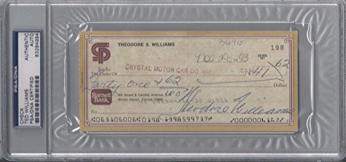 Ted Williams Certified Signed Personal Check Autograph Rare! #83284994 - PSA/DNA Certified - MLB Cut Signatures