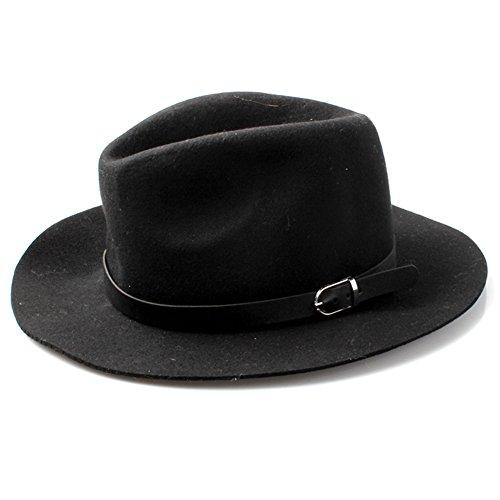 Accessoryo - 100% laine chapeau fedora noir des femmes avec la bande de ceinture noire