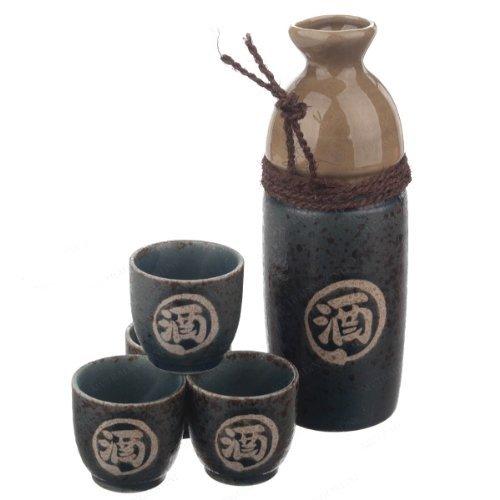 16 Oz. Japanese Sake Set Green w/ 4 Cups