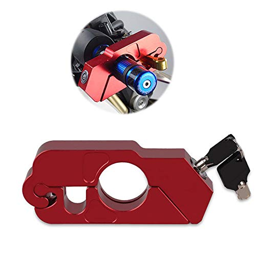 CONRAL Motorcycle CNC Handlebar/Throttle/Brake Grip Security Lock, Aluminum Material Anti Theft Throtlock Motorbike Handlebar/Brake Lever Lock Caps-Lock,Red