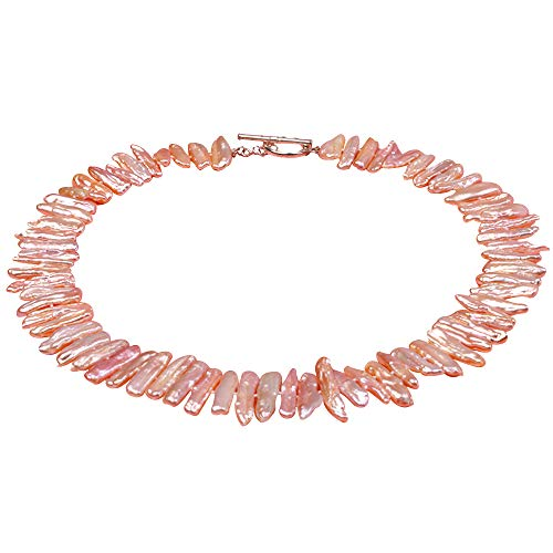 (JYX Pearl Classic 6x24mm Pink Biwa Freshwater Cultured Pearl Necklace 18
