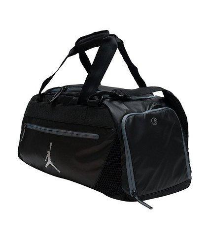 Nike Jumpman 23 Quality Rubberized Bottom Sports Duffle Bag, Black/Graphite Grey
