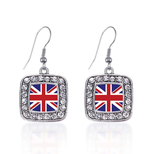 Inspired Silver - UK Flag Charm Earrings for Women - Silver Square Charm French Hook Drop Earrings with Cubic Zirconia Jewelry