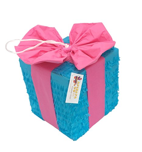 APINATA4U Gender Reveal Pinata Pink & Blue Gift Box Gender Reveal Party Favor Fully Assembled]()