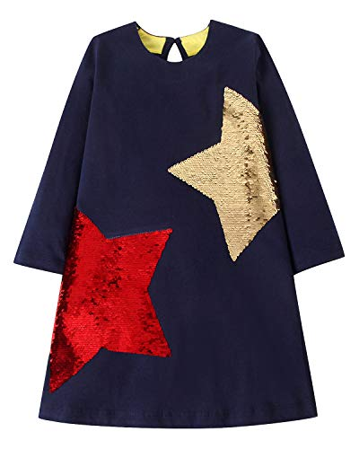 - Youlebao Girls Cotton Long Sleeve Casual Cartoon Appliques Striped Jersey Dresses (5T, Reversible Sequin Stars)