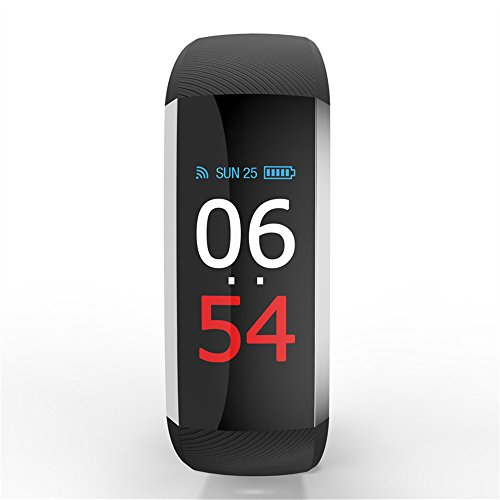 MAARYEE G19 Color Screen Smart Fitness Bracelet with Bluetooth Call Remind Remote Activity Tracker Calorie Counter Wireless Pedometer Sport Band Sleep Monitor for Android iOS Phone (Black)