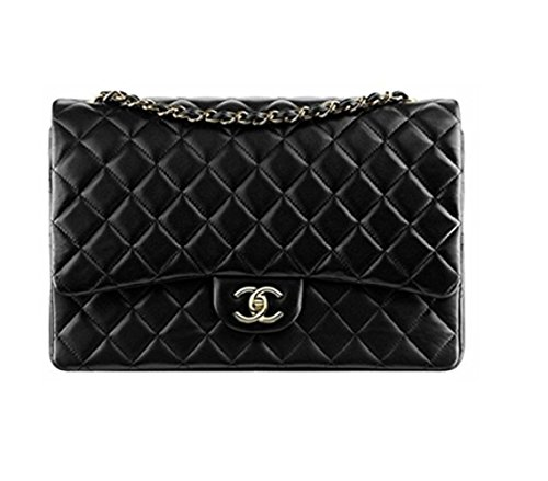 Simple-Chanel Women's Black Large Classic Flap Jumbo Chain Bag - Chanel Real Leather