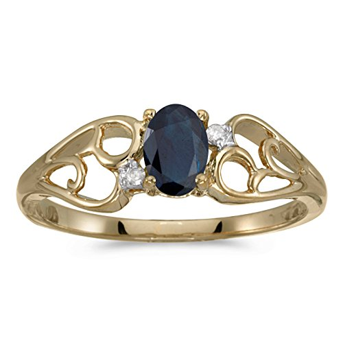 0.41 Carat ctw 10k Gold Oval Blue Sapphire & Diamond Heart Shape Swirl Filigree Fashion Promise Ring - Yellow-gold, Size 7 ()
