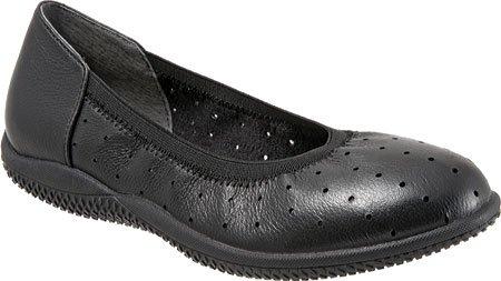 SoftWalk Womens Hampshire Black Veg Tumbled Leather Flat