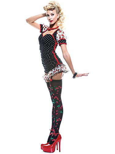 Paper Magic Womens French Kiss Pin-up Girl Costume, Black/Red, X-Small -