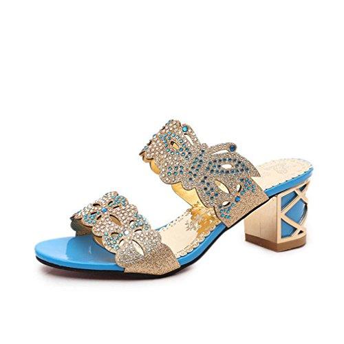 DM&Y 2017 versi¨®n coreana del verano del cuadrado hueco con las sandalias femeninas y zapatillas con el diamante days blue