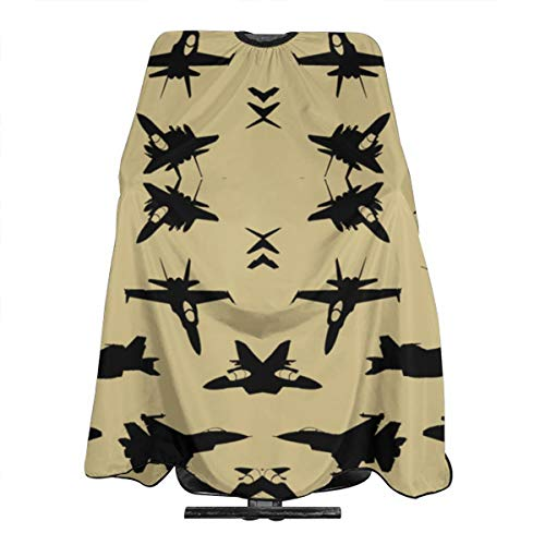 DFAUHAL Fighter Jets On Tan Small Wallpaper (6098) Barber Cape - Professional Hair Salon Nylon Cape with Closure