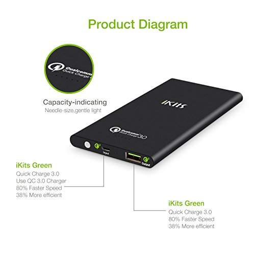 iKits fast price 30 mega trim electrica Bank 5000mAh External Extended Battery Pack suggestions 30 Output20 bright for iPhone iPad Samsung Galaxy Google Nexus extra Black External Battery Packs